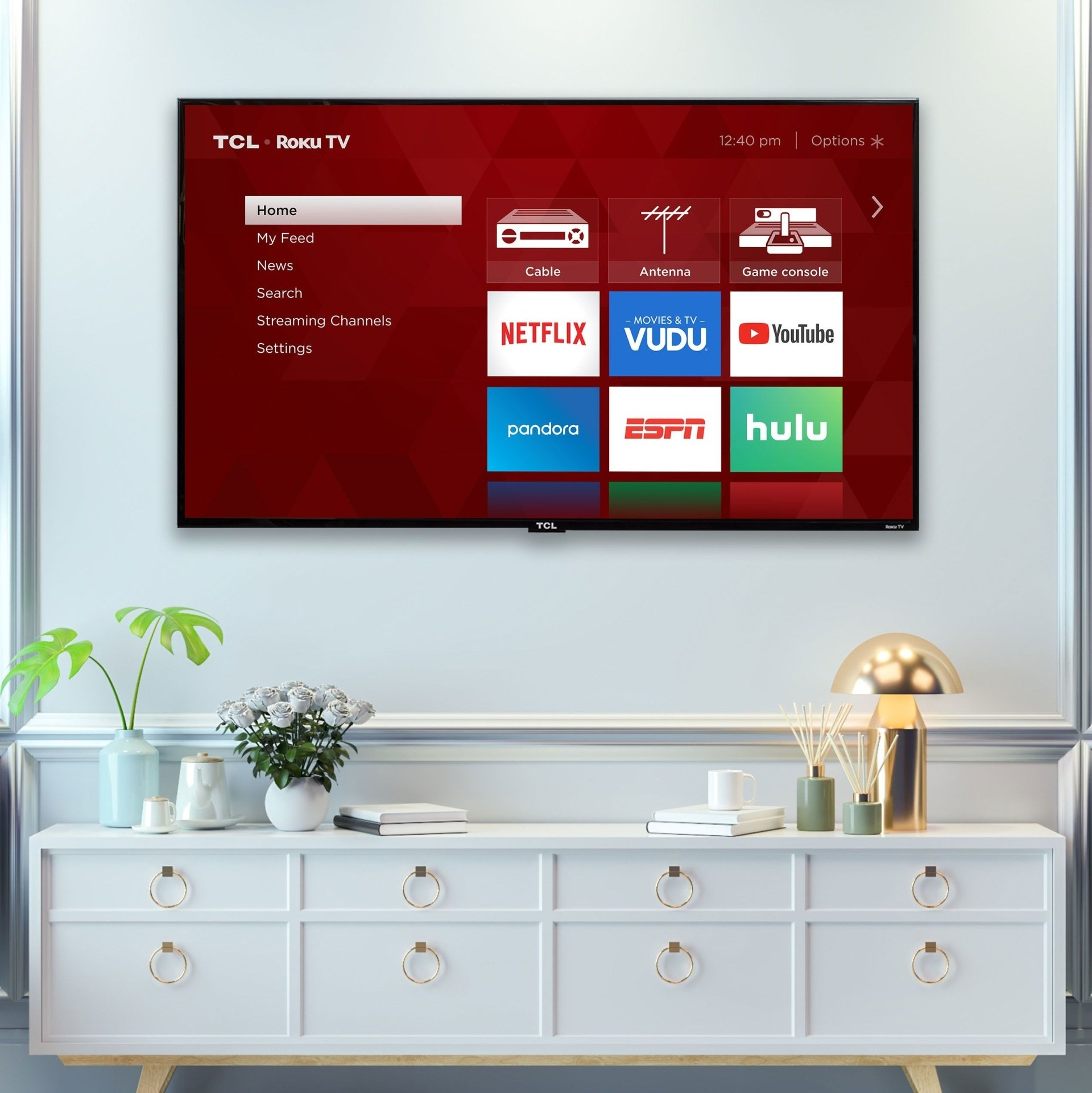 TCL Roku TV hanging on wall
