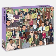 collage of illustrated characters from the office