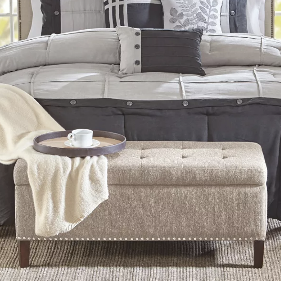 Madison Park Frances storage ottoman in oatmeal