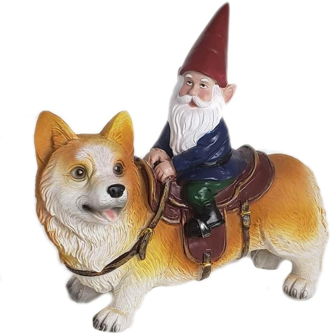 statue of a corgi with a horse-like saddle on it and a garden gnome riding it