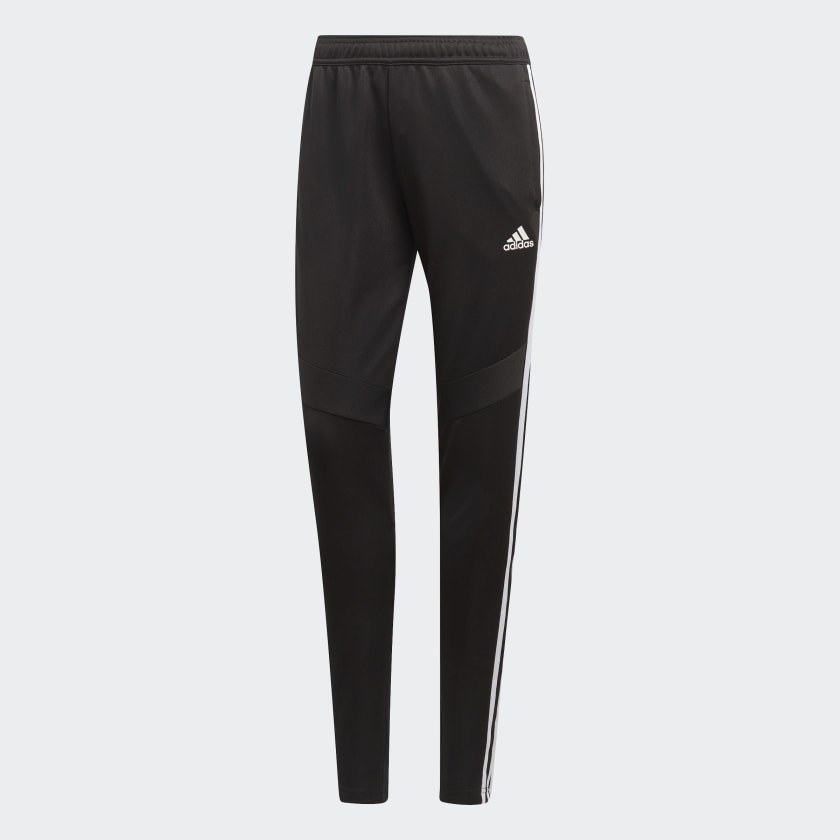 the black track pants with the adidas logo and stripes down the side