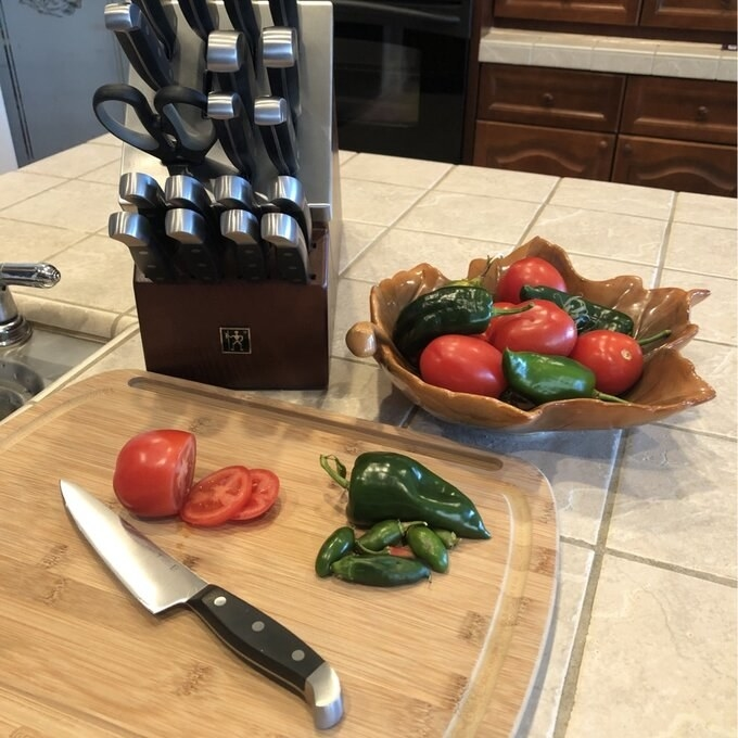 Reviewer's picture of the knife set