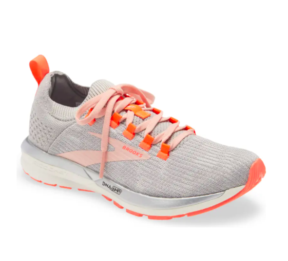 Brooks running shoes in grey / alloy / coral cloud