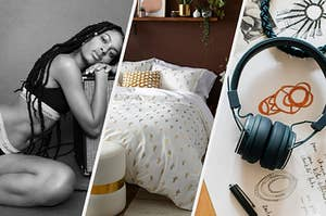 A person wearing a bralette and leaning against a speaker, A thick duvet on a bed with pillows, A pair of over-ear headphones on an open notebook