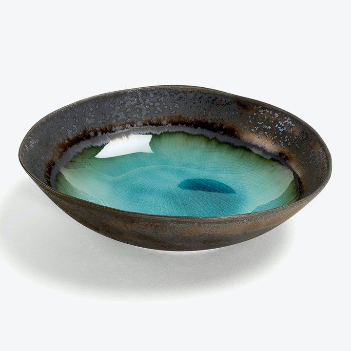 brown and teal serving bowl