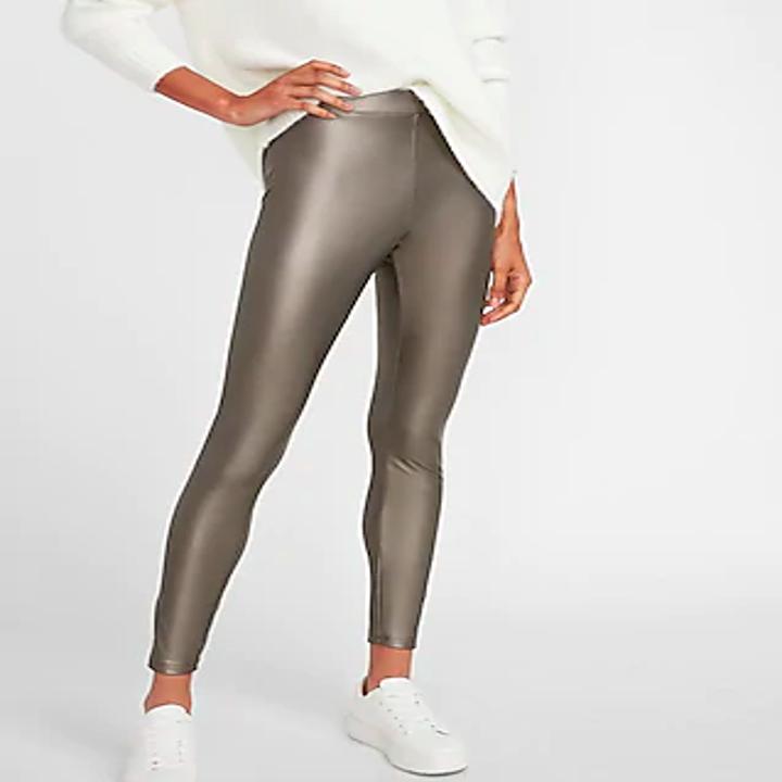 front of model wearing metallic leggings