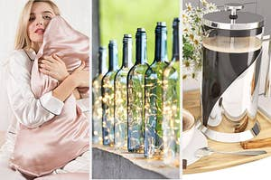 A split screen with a person hugging a silk pillow a set of glass lanterns with fairy lights and a French press