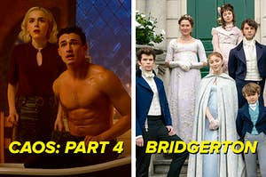 """Side by side of Sabrina and Nick Scratch from """"Chilling Adventures Of Sabrina"""" and the main characters from """"Bridgerton"""""""