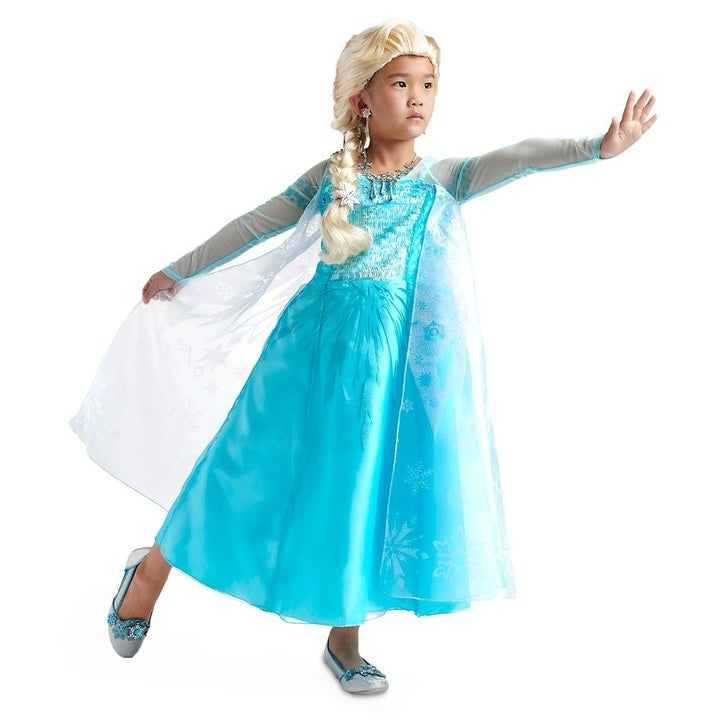 A child in an Elsa costume