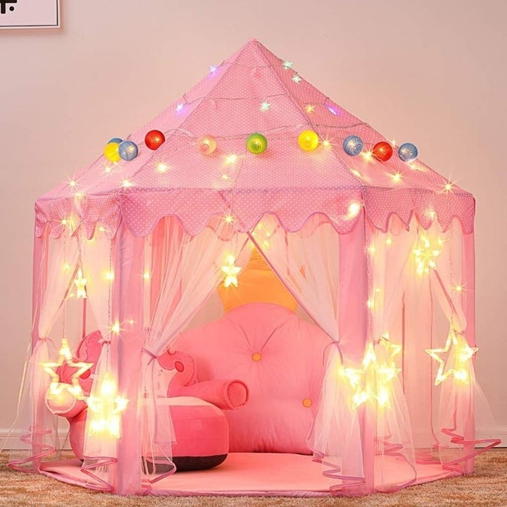 Princess play tent with led lights in pink