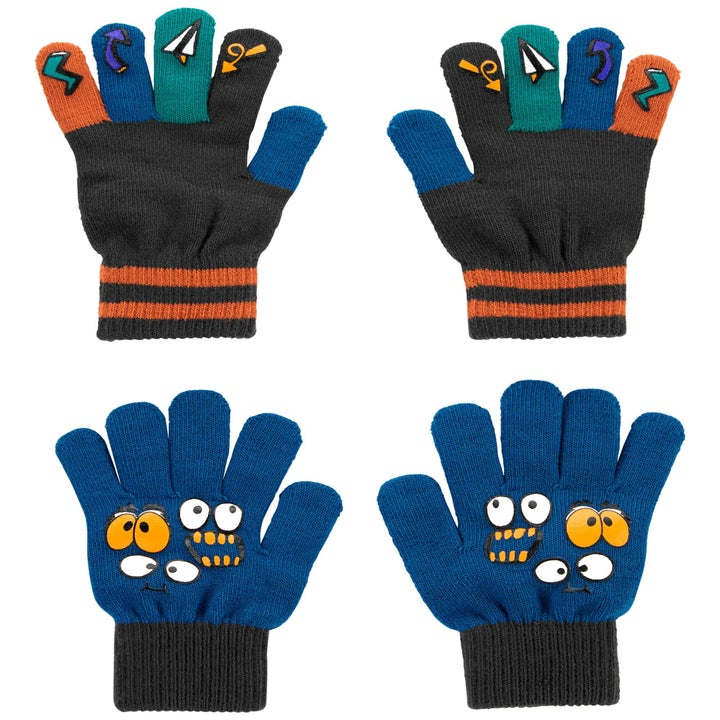 gripper gloves in blue with googly eyes on top