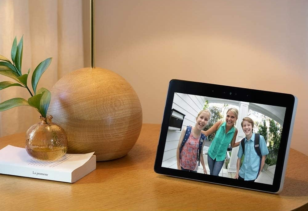 A tablet on a side table