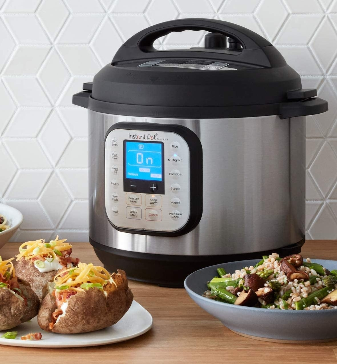 The Instant Pot surrounded by food