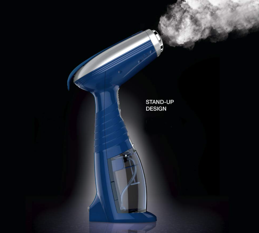 Handheld steamer releasing steam