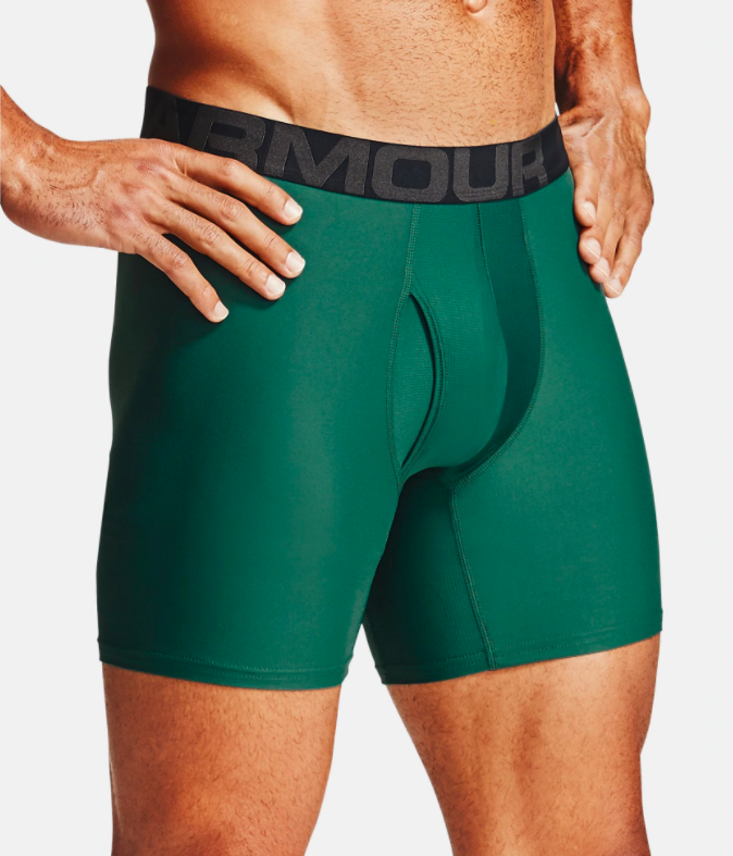 model wearing UA boxerjocks in green