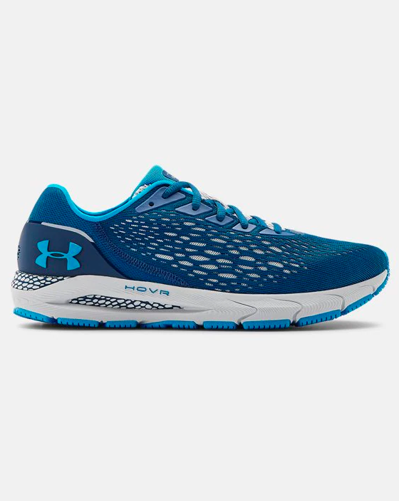the running shoes in blue
