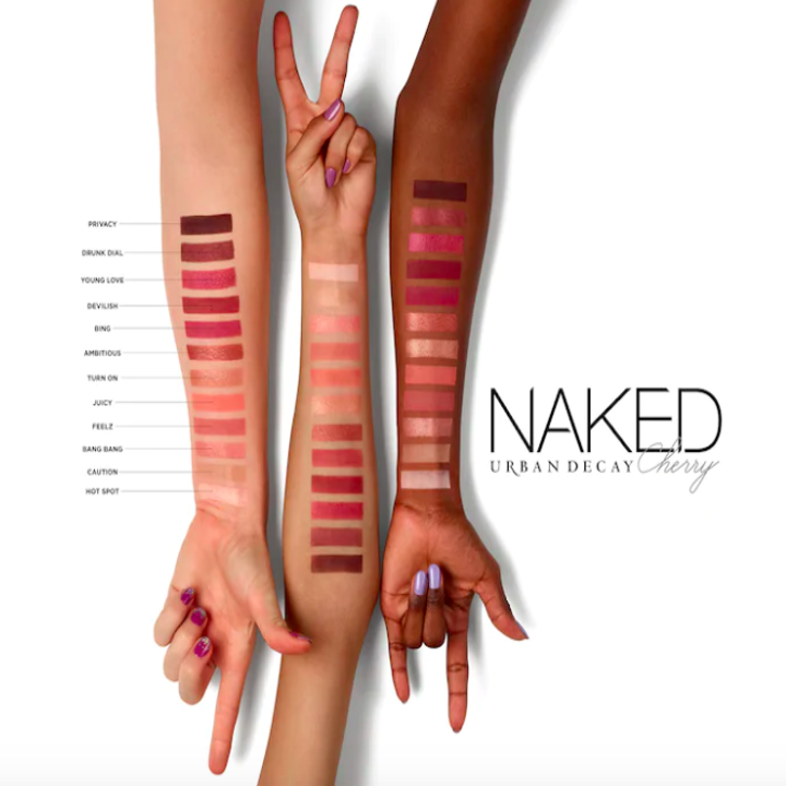 three models' forearms of varying skin tones swatched with the eyeshadows