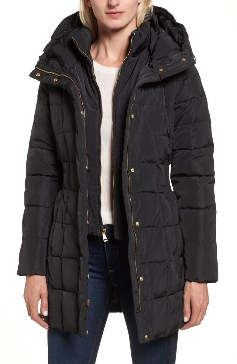 model wearing the coat