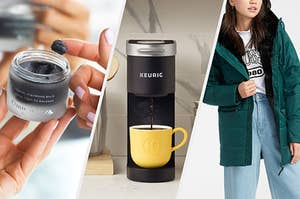 A person holding a container of cleansing balm, A small coffee maker dispensing coffee into a small mug, A person wearing a thick parka