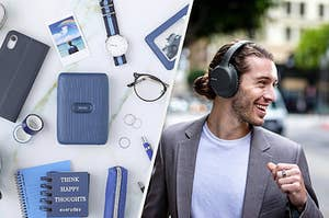 A mini photo printer surrounded by photos, a phone, and notebooks, A person wearing over-ear headphones