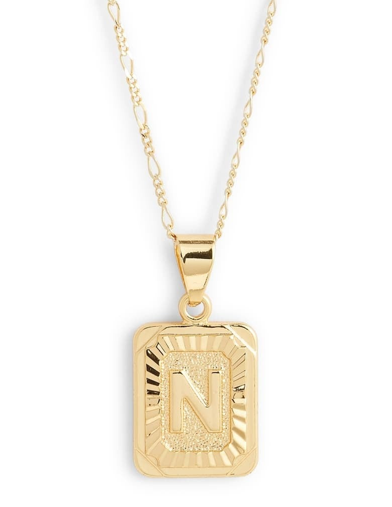 closeup of Bracha intiial pendant