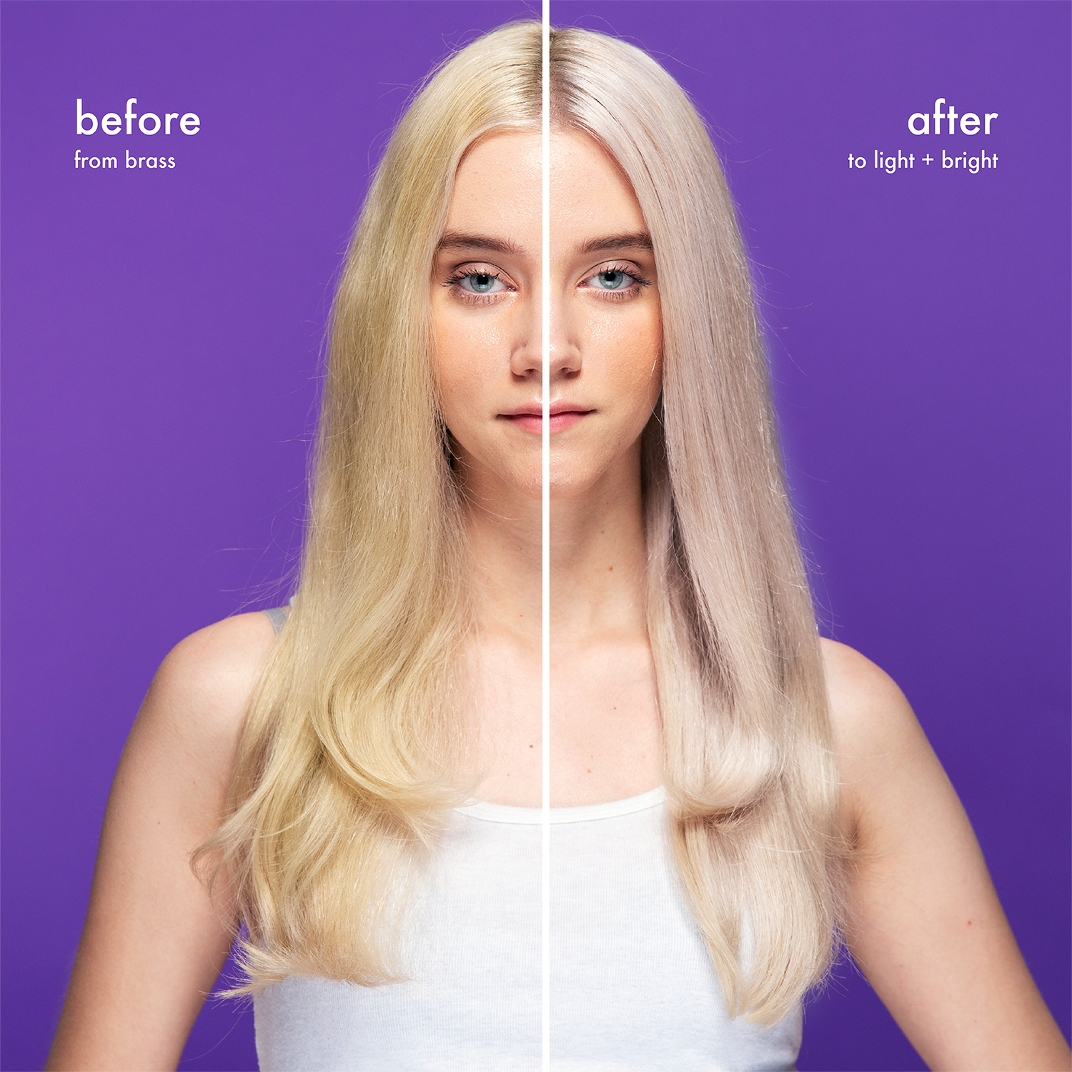 A before and after where the after shows blonde hair that is pale, neutral in tone, and visibly softer