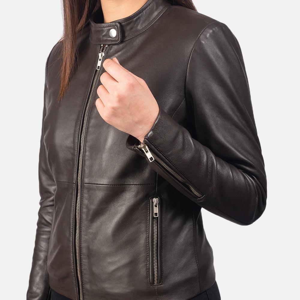 model wearing brown leather jacket