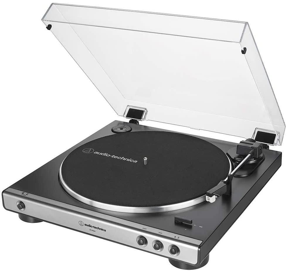 The open record player against a plain background