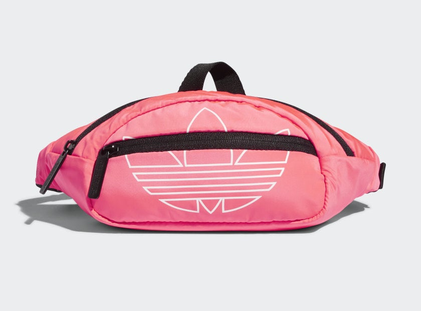 A waist pack with two zippered compartments and the Adidas logo