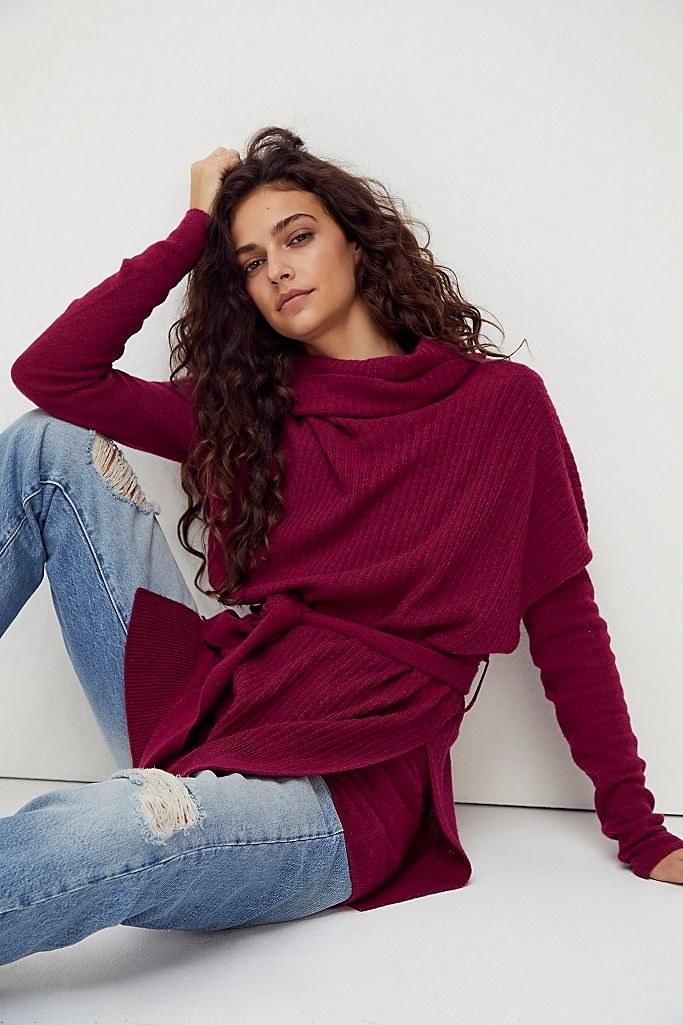 Model wearing the sweater set in purple
