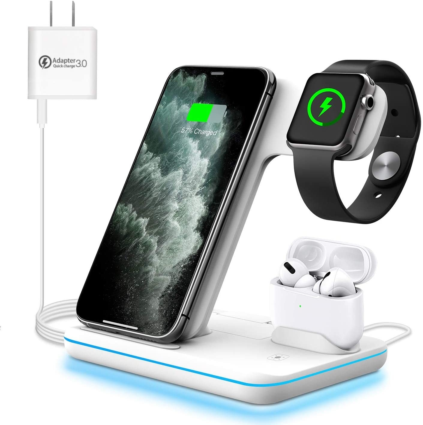 Three-in-one wireless charging station with phone, AirPods and Apple Watch
