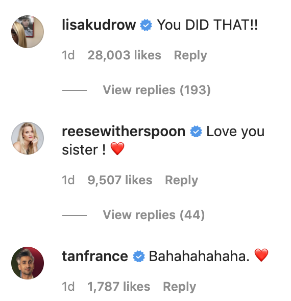 "Lisa Kudrow's comment which reads, ""You did that!"""