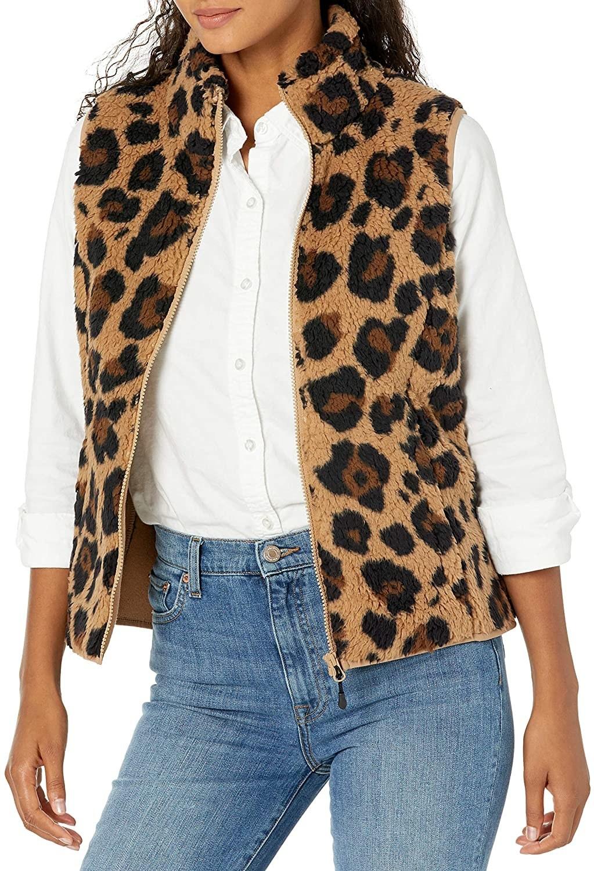 Model wearing the leopard-print version