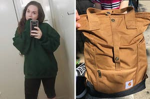 sweater and backpack
