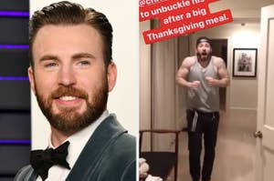 Side by side of Chris Evans in a suit and in a t-shirt