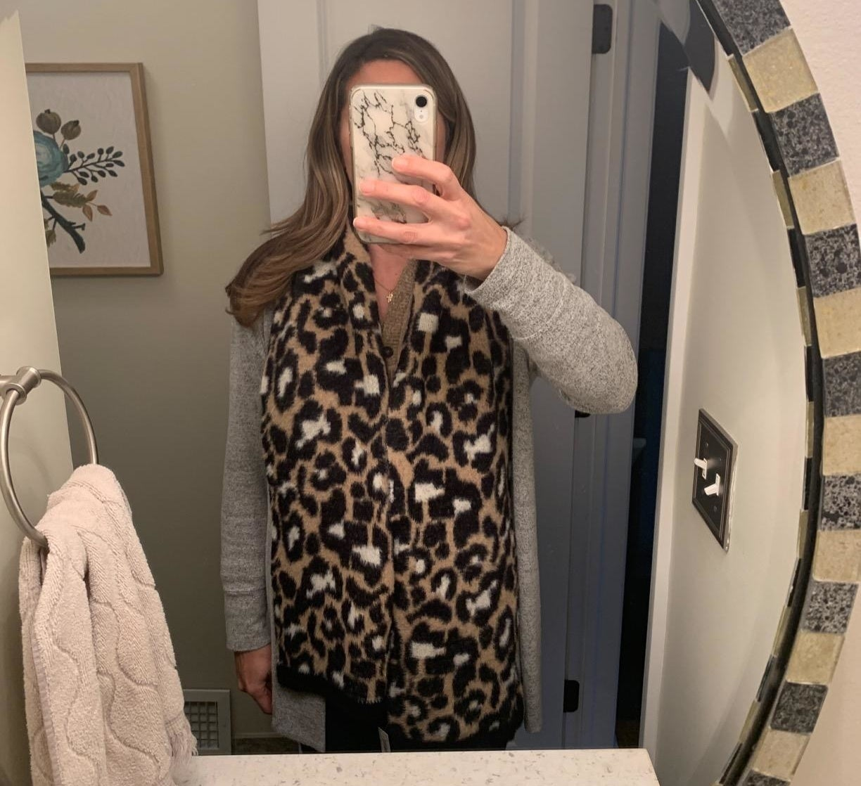 Reviewer wearing the tan scarf