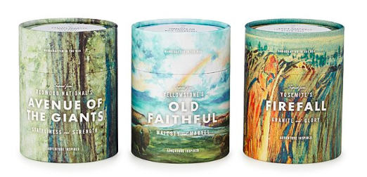 the three candles with illustrations representing each park