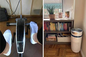 view of feet on an under desk bike for peddling, air purifier