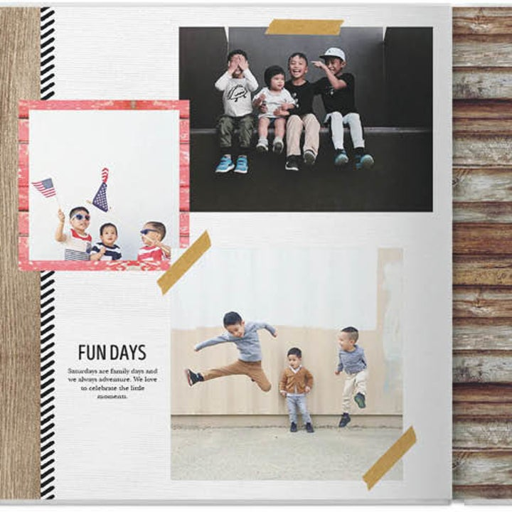 An example spread of a custom photobook with a collage of pictures