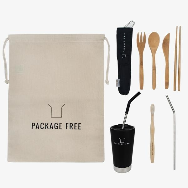 """the contents of the kit with an included drawstring bag that reads """"Package Free"""""""