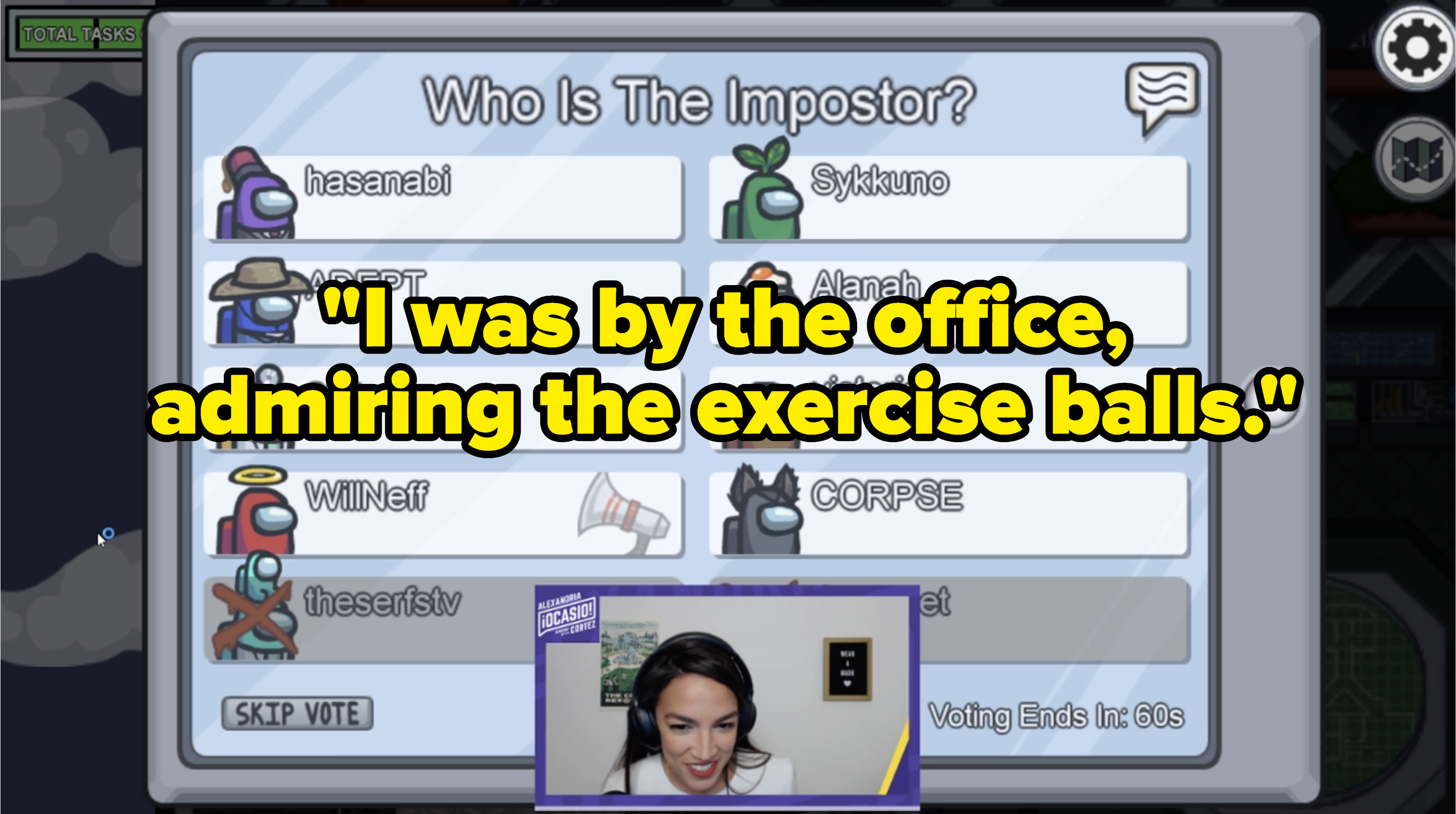 AOC in video with text that says, I was by the office, admiring the exercise balls