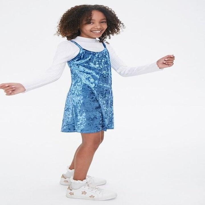 the velvet cami dress in blue