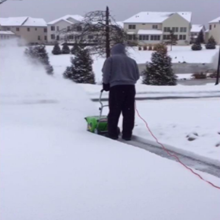 Reviewer with thick driveway of ankle-high snow plowing easily with machine