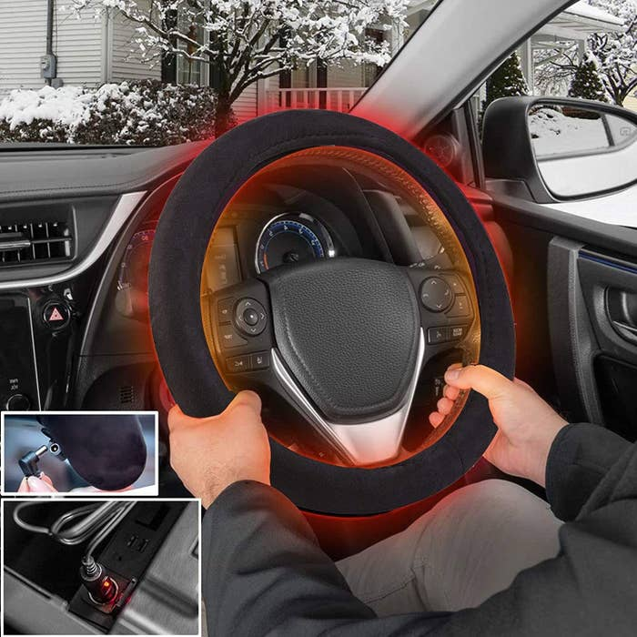 Graphic of steering wheel with red glowing from it to represent heat. Also shows cord being plugged into car jack.