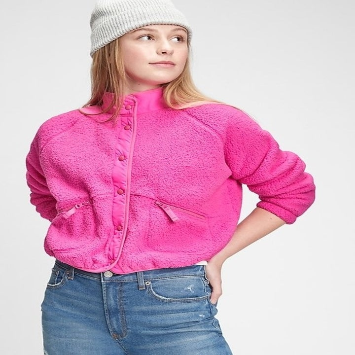 cropped sherpa bomber jacket in pink