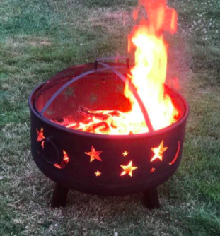fire pit with fire in it