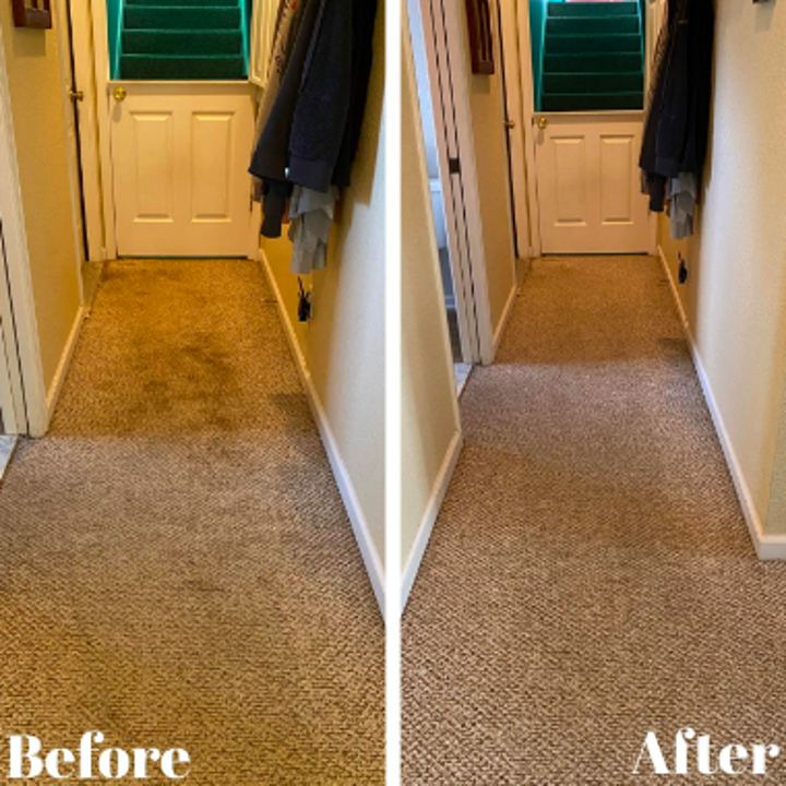 Reviewer's before and after with dirty carpet clean after use