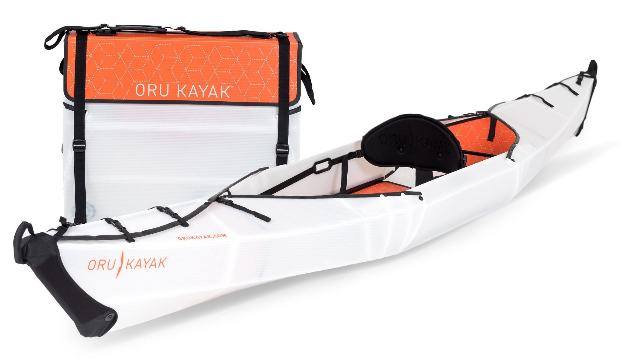 the full-size kayak beside a folded up version with a carrying strap.