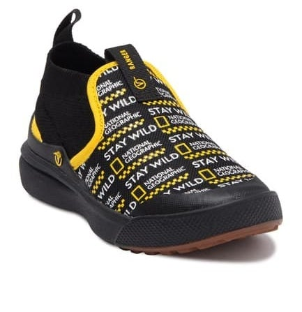 small shoes with the National Geographic logo on it