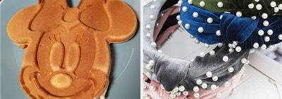 Mini mouse waffle and velvet pearl headbands